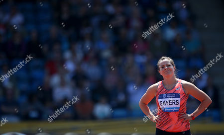 Stock Photo of Great Britain's Goldie Sayers during the Women's Javelin during the IAAF Diamond League meeting at the Alexander Stadium, Birmingham on June 5th 2016