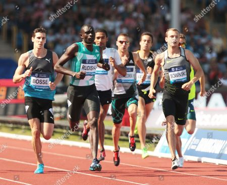 Stock Image of Pierre-Ambroise Bosse FRA (L) and David RUDISHA KEN (R) 600m Men Race during Birmingham Diamond League at Alexander Stadium on 5th June 2016