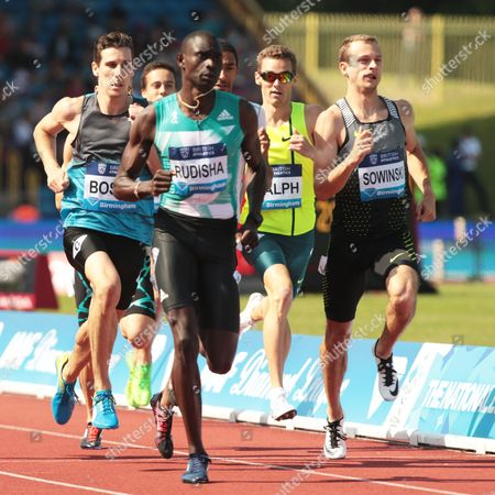 Stock Photo of Pierre-Ambroise Bosse FRA (L) and David RUDISHA KEN (R) 600m Men Race during Birmingham Diamond League at Alexander Stadium on 5th June 2016