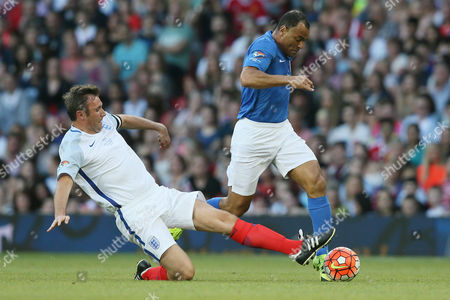 Cafu and Jonathan Wilkes during the Socceraid match between England XI and the Rest of the World XI played at Old Trafford, Manchester on June 5th 2016