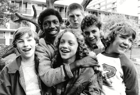 Tv Programme: The Latchkey Kids. L-r: Peter Harrison Ian Roberts Indra Ove Marc Wood Nigel Hayward And Bobby Collins. Box 650 304121524 A.jpg.