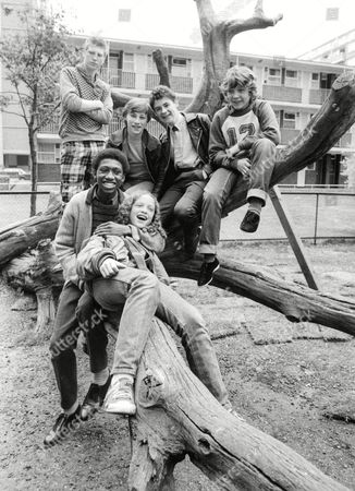 Tv Programme: The Latchkey Children. Back Row L-r: Marc Wood Peter Harrison Nigel Hayward And Bobby Collins. Front Row L-r: Indra Ove And Ian Roberts. Box 650 504121523 A.jpg.