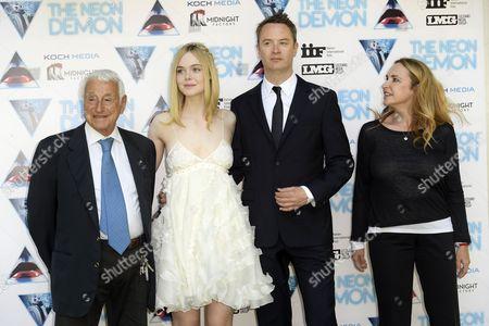 Producer Fulvio Lucisano, Elle Fanning, director Nicolas Winding Refn and producer Federica Lucisano