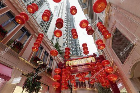 Shopping arcade decorated with red lanterns, Lee Tung Avenue Shopping Mall, District Wan Chai, Hong Kong Island, Hong Kong, China