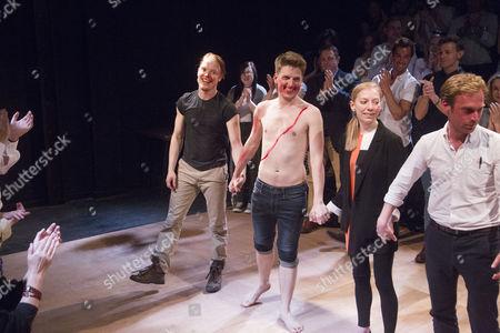Freddie Fox (Bottom/Demetrius), Freddie Hutchins (Lysander/Flute) and Maddy Hill (Titania/Quince)