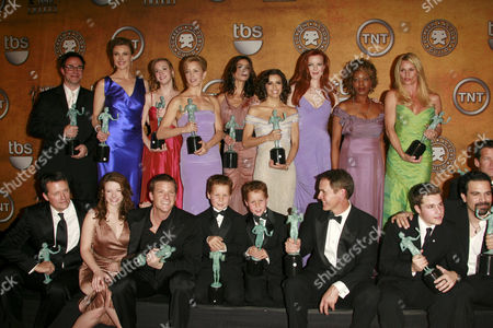 Cast from Desperate Housewives - (back row) Roger Bart, Brenda Strong, Andrea Bowen, Felicity Huffman, Teri Hatcher, Eva Longoria, Marcia Cross, Alfre Woodard and Nicollette Sheridan with (front row) Steven Culp, Joy Lauren, Doug Savant, Brent / Shane Kinsman, Mark Moses, Shawn Pyfrom and Ricardo Antonio Chavira