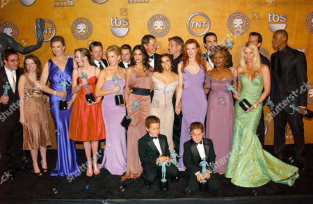 Stock Image of Roger Bart, Joy Lauren, Brenda Strong, Andrea Bowen, Steven Culp, Felicity Huffman, Shawn Pyfrom, Teri Hatcher, Mark Moses, Eva Longoria, Doug Savant, Marcia Cross, Ricardo Antonio Chavira, Alfre Woodard, Nicollette Sheridan and Mehcad Brooks with Shane and Brent Kinsman