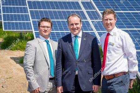 Chris Kopinak, Senior Project Manager, Energy Group, of Canadian Solar, Paul Wheelhouse MSP and Thomas McMillan, Director, Energy and Sustainability, Savills