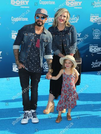Stock Image of A.J. McLean, Rochelle DeAnna Karidis and family
