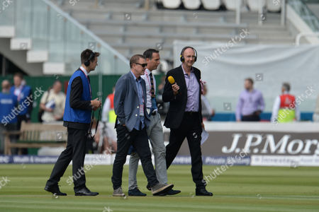 BBC Test Match Special's L-r Phil Tufnell, Michael Vaughan and Jonathan Agnew during Day One of the 3rd Investec Test Match between England and Sri Lanka played at Lord's Cricket Ground, London on June 9th 2016