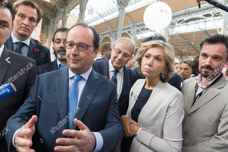 Jerome Chartier, Francois Hollande, Pierre Aidenbaum and Valerie Pecresse