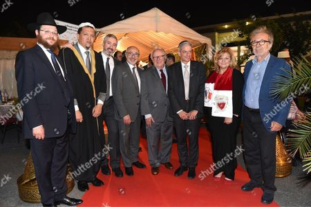 Stock Picture of Memmbers of the Jewish community and the Muslim community, Imam Hassen Chalghoumi Drancy (2nd left), the new President of CRIF Kalifa Francis (4th left) and former President of CRIF Roger Cukierman (4th right)