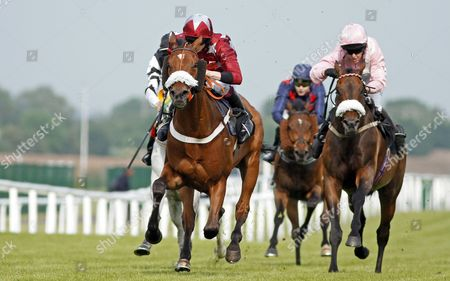 GOOD OF LUCK (Mr T Greatrex) beats CITY GROUND (right) in The Wiser Academy Amateur Riders Handicap Newbury