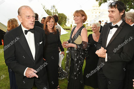 Prince Philip, Samantha Bond and Neal Purvis