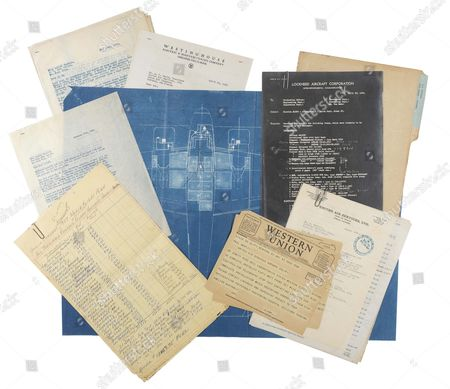 Documents including blueprints for the Electra 10e aircraft, plans and invoices for the work done modifying it