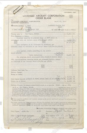The signed contract for the Electra 10e aircraft.