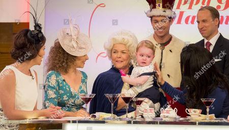 Andrea McLean, Nadia Sawalha, Linda Robson, Joey Essex, Prince George look-alike, Prince William look-alike Simon Watkinson