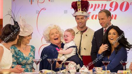 Stock Photo of Andrea McLean, Nadia Sawalha, Linda Robson, Joey Essex, Prince George look-alike, Prince William look-alike Simon Watkinson, Vicky Pattison