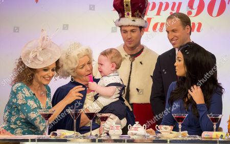 Stock Picture of Nadia Sawalha, Linda Robson, Joey Essex, Prince George look-alike, Prince William look-alike Simon Watkinson, Vicky Pattison