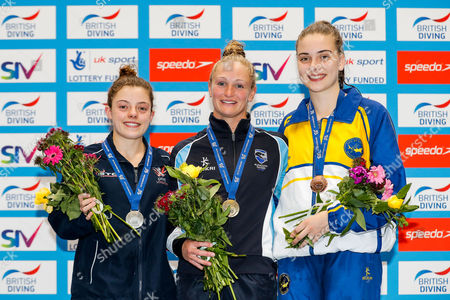 Podium for the Womens 10m Platform Final. Silver medallist Georgia Ward from Dive London Aquatics Club, Gold medallist Sarah Barrow from Plymouth Diving and Bronze medallist Ruby Bower from City of Leeds Diving Club