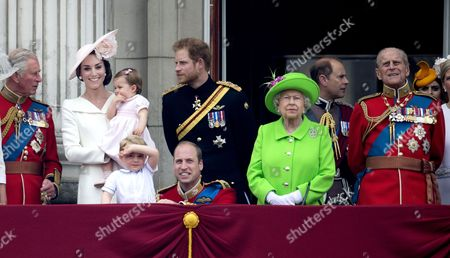 Stock Image of Prince Charles, Catherine Duchess of Cambridge, Princess Charlotte of Cambridge, Prince George, Prince William, Prince Harry, Queen Elizabeth II and Prince Philip