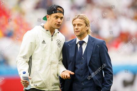 Germany goalkeeper Manuel Neuer and Anatoliy Tymoshchuk of Ukraine before the UEFA Euro 2016 Group C match between Germany and Ukraine played at The Pierre-Mauroy Stadium, Lille, France on June 12th 2016