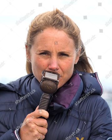 Former gold Olympic medal winner Sarah Ayton commenting on the racing for Sunset and Vine TV who were covering the event