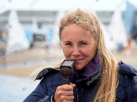 Stock Picture of Former gold Olympic medal winner Sarah Ayton commenting on the racing for Sunset and Vine TV who were covering the event