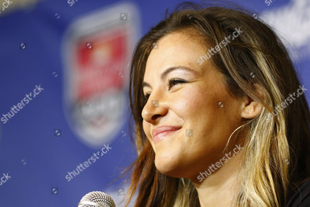 Miesha Tate meets with the NASCAR Media prior to the FireKeepers Casino 400 at the Michigan International Speedway in Brooklyn, MI