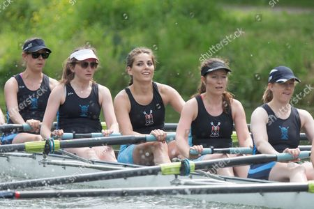 Stock Photo of Crew from Lucy Cavendish College at the  Cambridge University May Bumps  on the River Cam