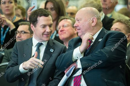 Chancellor of the Exchequer, George Osborne talks to Mayor of Liverpool Joe Anderson at the International Festival for Business at the Liverpool Exhibition Centre