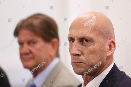 New Reading FC manager Jaap Stam unveiled, next to John Madejski, at the Madjeski Stadium, Reading