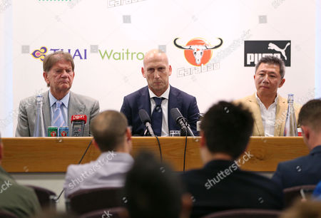 New Reading FC manager Jaap Stam unveiled, next to shareholder Sumrith Thanakarnjanasuth and John Madejski, at the Reading FC manager unveiling of Jaap Stam at the Madjeski Stadium, Reading on June 13th 2016