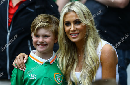 Stock Photo of Claudine Palmer the wife of Robbie Keane of Republic of Ireland during the UEFA Euro 2016 Group E match played between Republic of Ireland and Sweden at Stade de France, Paris, France on June 13th 2016