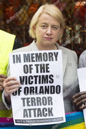 British Green party leader politician Natalie Bennett joins London's gay village to honour victims of Pulse shooting in the United States. It is alleged that The gunman, Omar Mateen killed at least 50 people in Pulse nightclub in Floriday, USA. London, UK.
