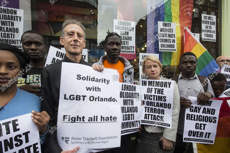 Peter Tatchell and Natalie Bennett show their support People gather for 2 minutes silence to show solidarity and support for the people of Orlando following the massacre.After the silence,hundreds of balloons were released.