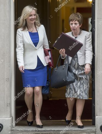 Elizabeth Truss Secretary Of State For Environment Food And Rural Affairs And Baroness Stowell Of Beeston Mbe Lord Privy Seal Leader Of The House Of Lords Arrives For A Cabinet Meeting In Downing Street.