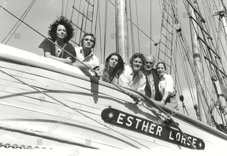 The Cast Of The Tv Series: The Onedin Line Onboard The Esther Lohse. Picture Shows L-r: Jill Gascoigne Tom Adams Jessica Benton Peter Gilmore Howard Lang And Laura Hartong. Box 654 1011121525 A.jpg.