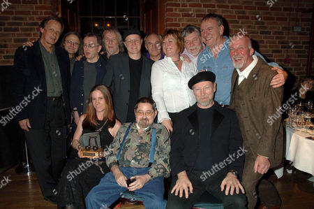 Joe Boyd, Chris Leslie, Dave Mattacks, Gerry Conway, Ric Sanders, Ashley Hutchings, Chris While, Simon Nicol, Ralph McTell and Dave Pegg - front Georgia Lucas, Dave Swarbrick, Richard Thompson