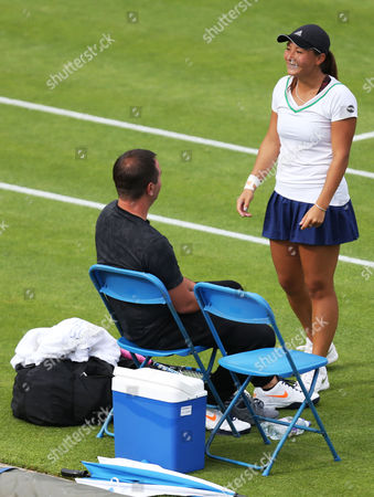 Tara Moore (GBR) is all smiles with her coach as her opponent Tamira Paszek receives treatment during her First Round match in the Aegon Classic played at the Edgbaston Priory Club, Birmingham on 14th June 2016