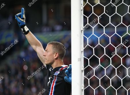 Iceland goalkeeper Hannes Por Halldorsson   during the UEFA European Championships 2016 , group F match between Portugal and Iceland   played at Stadium  Geoffroy Guichard , Saint-Etienne , France on June 14th  2016