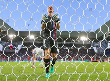 Iceland goalkeeper Hannes Por Halldorsson reacts after conceding a goal   during the UEFA European Championships 2016 , group F match between Portugal and Iceland   played at Stadium  Geoffroy Guichard , Saint-Etienne , France on June 14th  2016
