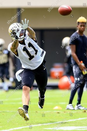 New Orleans Saints wide receiver Reggie Bell (11) working on passing drills during the New Orleans Saints Mini Camp at the New Orleans Saints Training Facility in New Orleans, LA