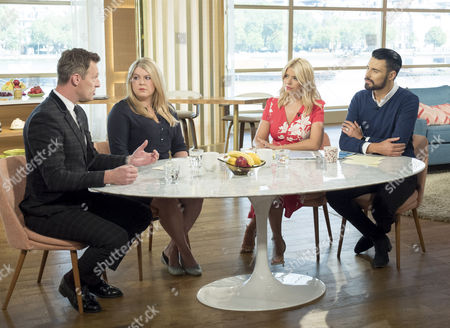 Martin Daubney and Rebecca Reid with Holly Willoughby and Rylan Clark
