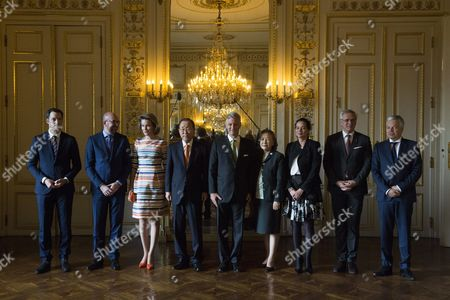 Charles Michel, Alexander De Croo, King Philippe, Queen Mathilde, Ban Ki-moon, Yoo Soon-taek, Christine Defraigne, Kris Peeters, Didier Reynders