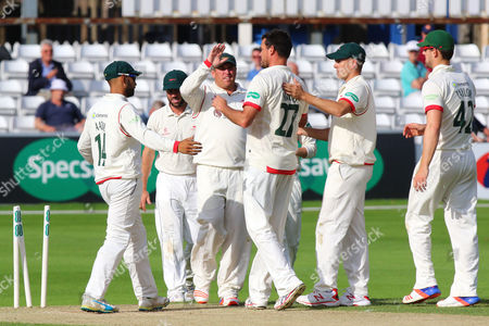 Clint McKay (C) of Leicestershire is congratulated by his team mates after taking the wicket of Nick Browne during Essex CCC vs Leicestershire CCC, Specsavers County Championship Division 2 Cricket at the Essex County Ground on 21st June 2016