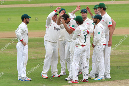 Clint McKay of Leicestershire is congratulated by his team mates after taking the wicket of Jesse Ryder during Essex CCC vs Leicestershire CCC, Specsavers County Championship Division 2 Cricket at the Essex County Ground on 22nd June 2016