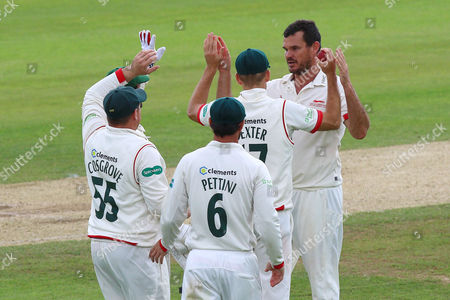 Clint McKay (R) of Leicestershire is congratulated by his team mates after taking the wicket of Ryan ten Doeschate during Essex CCC vs Leicestershire CCC, Specsavers County Championship Division 2 Cricket at the Essex County Ground on 22nd June 2016