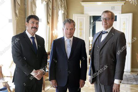 The President of Hungary Janos Ader, the President of Finland Sauli Niinistö and the President of Estonia Toomas Hendrik Ilves