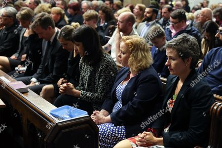 Labour MPs (L-R) Yvette Cooper, Naz Shah, Dan Jarvis, Rachel Reeves and Mary Creagh at a vigil in St Peters Church in the town of Birstall, West Yorkshire, where Labour MP Jo Cox was shot and killed earlier today. Jo Cox was holding her weekly advice surgery at the time of the attack in her constituency of Batley and Spen in West Yorkshire.